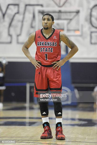 Rashad Lindsey of the Arkansas State Red Wolves looks on during a college basketball game against the Georgetown Hoyas at McDonough Arena on November...