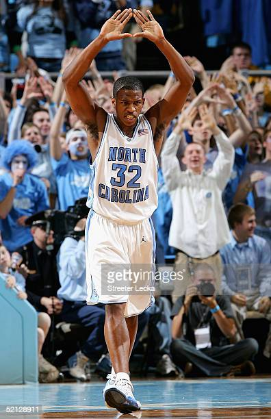 Rashad McCants of the North Carolina Tar Heels celebrates after a basket during their game against the North Carolina State Wolfpack on February 3...
