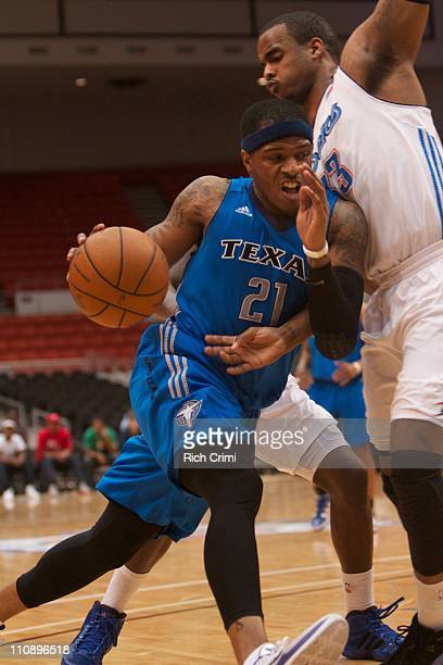 Rashad McCants of the Texas Legends drives against Marcus Lewis of the Tulsa 66ers as the Tulsa 66ers meet the Texas Legends on March 25 2011 at the...