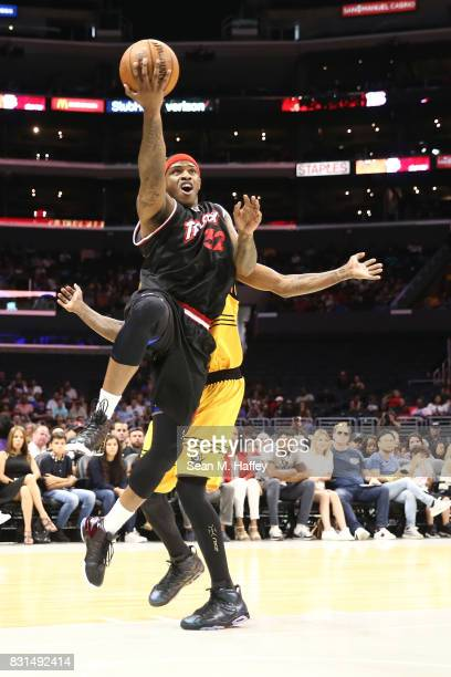 Rashad McCants of the Trilogy drives to the hoop against Killer 3s during week eight of the BIG3 three on three basketball league at Staples Center...