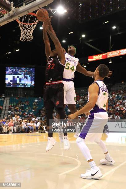 Rashad McCants of Trilogy and Kwame Brown of 3 Headed Monsters during the BIG3 three on three basketball league championship game on August 26 2017...