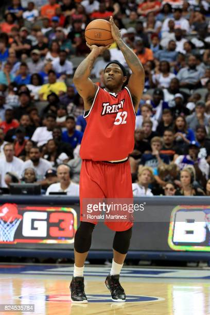 Rashad McCants of Trilogy attempts a four point shot against the Ghost Ballers during week six of the BIG3 three on three basketball league at...