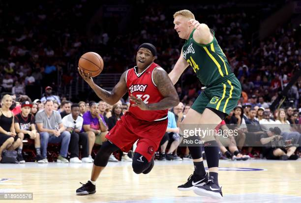 Rashad McCants of Trilogy handles the ball against Brian Scalabrine of the Ball Hogs during week four of the BIG3 three on three basketball league at...