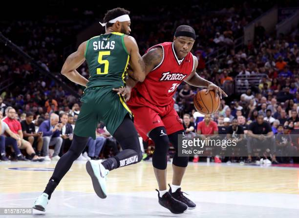 Rashad McCants of Trilogy handles the ball against Xavier Silas of the Ball Hogs during week four of the BIG3 three on three basketball league at...