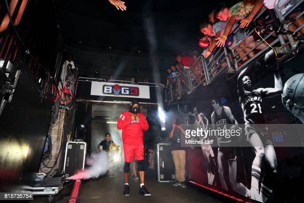 Rashad McCants of Trilogy is introduced during week four of the BIG3 three on three basketball league at Wells Fargo Center on July 16 2017 in...