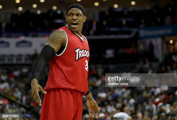 Rashad McCants of Trilogy reacts during week two of the BIG3 three on three basketball league at Spectrum Center on July 2 2017 in Charlotte North...