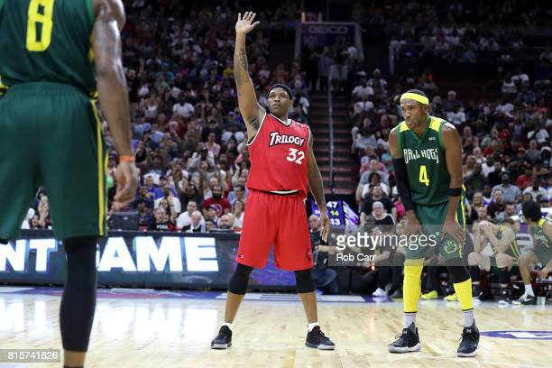 Rashad McCants of Trilogy reacts late in the game against the Ball Hogs during week four of the BIG3 three on three basketball league at Wells Fargo...