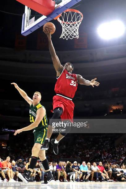 Rashad McCants of Trilogy shoots against Brian Scalabrine of the Ball Hogs during week four of the BIG3 three on three basketball league at Wells...