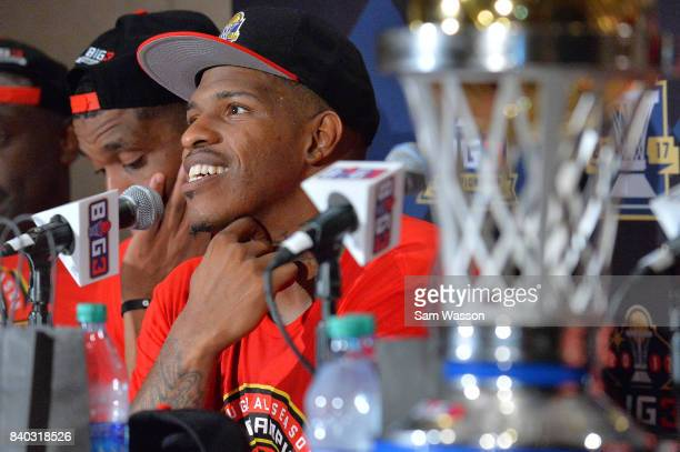 Rashad McCants of Trilogy speaks to the media after winning the BIG3 three on three basketball league championship game against 3 Headed Monsters on...