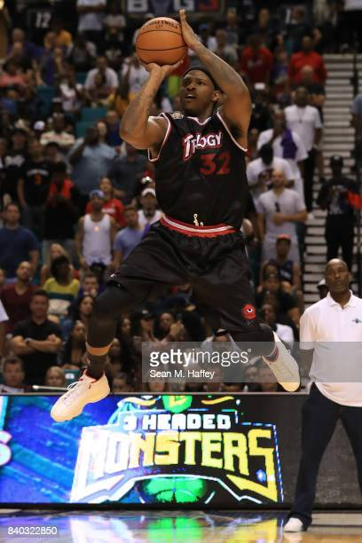 Rashad McCants of Trilogy takes a shot against 3 Headed Monsters during the BIG3 three on three basketball league championship game on August 26 2017...