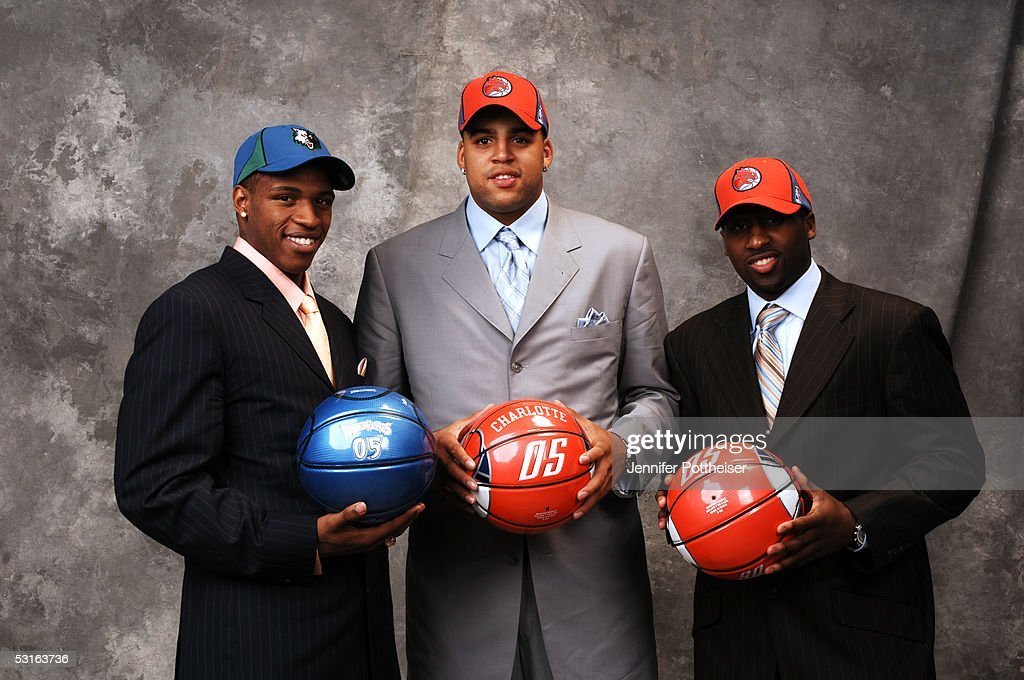 Rashad McCants, Sean May, and Raymond Felton pose for a portrait during the 2005 NBA Draft on June 28, 2005 at the Theater at Madison Square Garden in New York City.