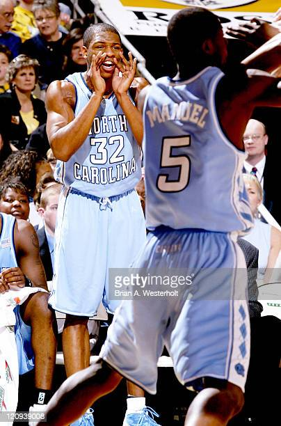 Rashad McCants yells encouragement from the bench during the first half of North Carolina's 7973 defeat of Wake Forest February 7 2004