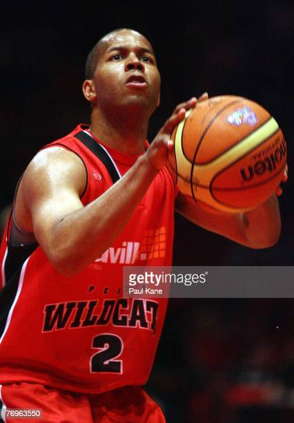 Rashad Phillips of the Wildcats shoots a free throw during the round one NBL match between the Perth Wildcats and the Singapore Slingers at Challenge...