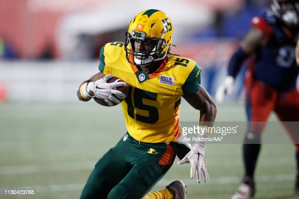 Rashad Ross of the Arizona Hotshots runs toward the end zone for a touchdown after catching a pass during an Alliance of American Football game...
