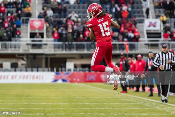 Rashad Ross of the DC Defenders catches a pass against the NY Guardians during the second half of the XFL game at Audi Field on February 15 2020 in...