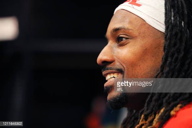 Rashad Ross of the DC Defenders looks on at halftime during the XFL game against the St Louis BattleHawks at Audi Field on March 8 2020 in Washington...