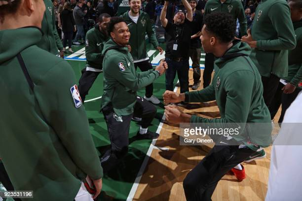 Rashad Vaughn and Giannis Antetokounmpo of the Milwaukee Bucks before the game against the Brooklyn Nets on January 26 2018 at the BMO Harris Bradley...