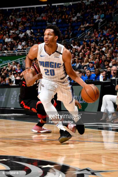 Rashad Vaughn of Orlando Magic handles the ball during the game against the Toronto Raptors on February 28 2018 at Amway Center in Orlando Florida...