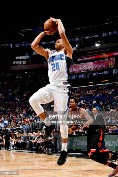 Rashad Vaughn of Orlando Magic shoots the ball during the game against the Toronto Raptors on February 28 2018 at Amway Center in Orlando Florida...