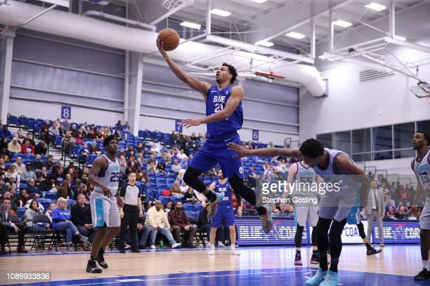 Rashad Vaughn of the Delaware Blue Coats shoots against Malik Pope of the Greensboro Swarm during an NBA GLeague game at the 76ers Fieldhouse Elite...