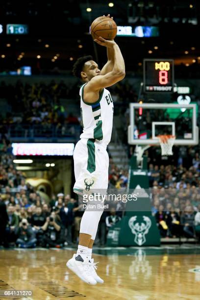 Rashad Vaughn of the Milwaukee Bucks attempts a shot in the second quarter against the Dallas Mavericks at BMO Harris Bradley Center on April 2 2017...