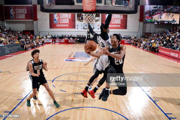 Rashad Vaughn of the Milwaukee Bucks goes for a lay up during the game against the Brooklyn Nets during the 2017 Las Vegas Summer League on July 9...