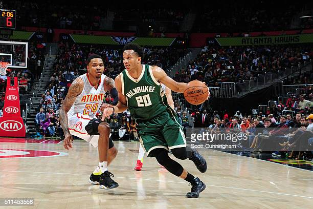 Rashad Vaughn of the Milwaukee Bucks handles the ball against the Atlanta Hawks on February 20 2016 at Philips Arena in Atlanta Georgia NOTE TO USER...