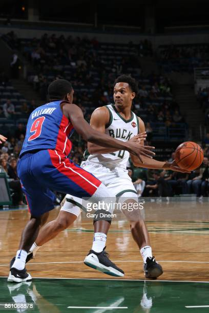 Rashad Vaughn of the Milwaukee Bucks handles the ball against the Detroit Pistons on October 13 2017 at the BMO Harris Bradley Center in Milwaukee...