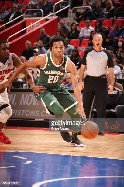 Rashad Vaughn of the Milwaukee Bucks handles the ball against the Detroit Pistons on November 3 2017 at Little Caesars Arena in Detroit Michigan NOTE...