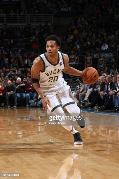 Rashad Vaughn of the Milwaukee Bucks handles the ball against the Detroit Pistons on December 6 2017 at the BMO Harris Bradley Center in Milwaukee...