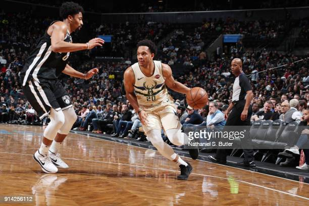Rashad Vaughn of the Milwaukee Bucks handles the ball against the Brooklyn Nets on February 4 2018 at Barclays Center in Brooklyn New York NOTE TO...