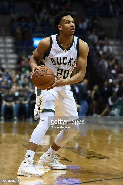 Rashad Vaughn of the Milwaukee Bucks handles the ball during a game against the Minnesota Timberwolves at the BMO Harris Bradley Center on March 11...