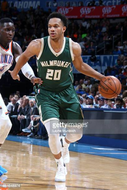 Rashad Vaughn of the Milwaukee Bucks handles the ball during the game against the Oklahoma City Thunder on April 4 2017 at Chesapeake Energy Arena in...