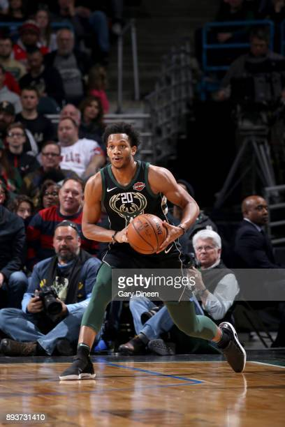 Rashad Vaughn of the Milwaukee Bucks passes the ball against the Chicago Bulls on December 15 2017 at the BMO Harris Bradley Center in Milwaukee...