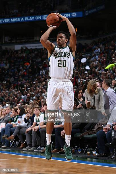Rashad Vaughn of the Milwaukee Bucks shoots against the Miami Heat on January 29 2016 at the BMO Harris Bradley Center in Milwaukee Wisconsin NOTE TO...