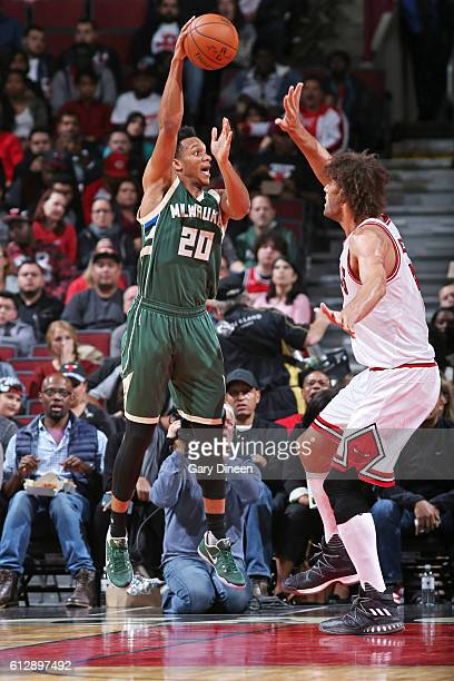Rashad Vaughn of the Milwaukee Bucks shoots the ball against the Chicago Bulls during a preseason game on October 3 2016 at United Center in Chicago...