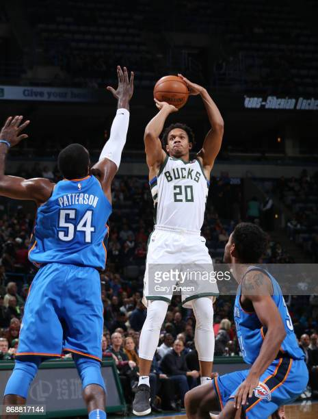 Rashad Vaughn of the Milwaukee Bucks shoots the ball against the Oklahoma City Thunder on October 31 2017 at the BMO Harris Bradley Center in...