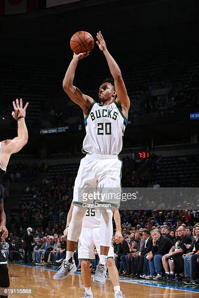 Rashad Vaughn of the Milwaukee Bucks shoots the ball during a game against the Brooklyn Nets on October 29 2016 at BMO Harris Bradley Center in...