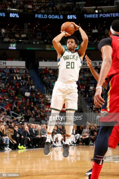 Rashad Vaughn of the Milwaukee Bucks shoots the ball during the game against the New Orleans Pelicans on December 13 2017 at Smoothie King Center in...