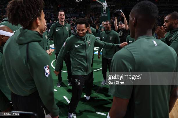 Rashad Vaughn of the Milwaukee Bucks stands in the middle of the huddle prior to the start of the game against the Phoenix Suns on January 22 2018 at...