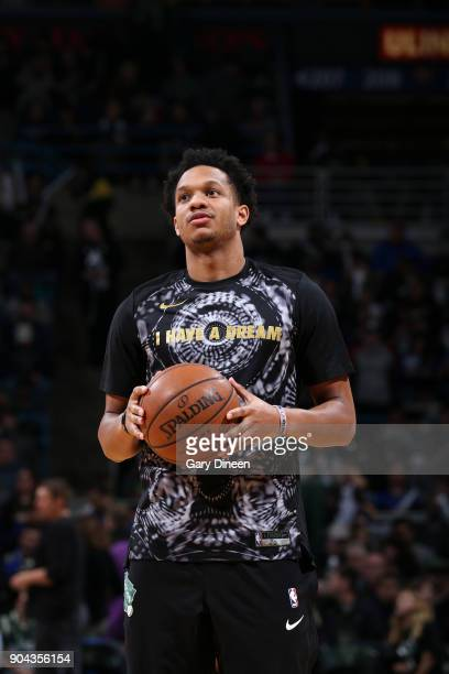 Rashad Vaughn of the Milwaukee Bucks warms up before the game against the Golden State Warriors on January 12 2018 at the BMO Harris Bradley Center...