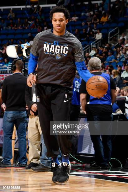 Rashad Vaughn of the Orlando Magic dribbles the ball during warmups before the game against the Memphis Grizzlies on March 23 2018 at Amway Center in...