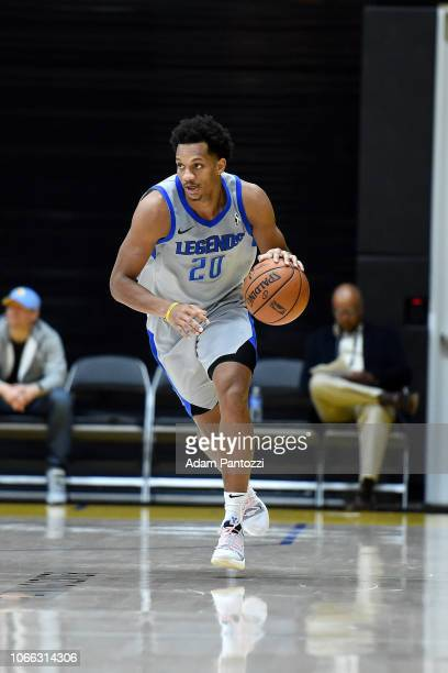 Rashad Vaughn of the Texas Legends handles the basketball against the South Bay Lakers on November 28 2018 at UCLA Heath Training Center in El...