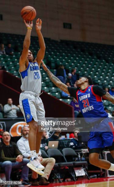Rashad Vaughn of the Texas Legends shoots against the Grand Rapids Drive on December 12 2018 at DeltaPlex Arena in Grand Rapids Michigan NOTE TO USER...