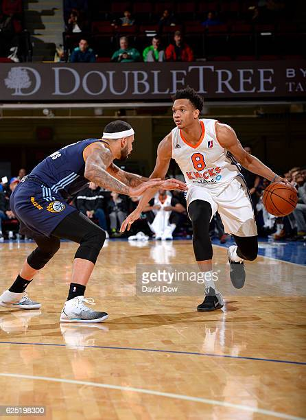 Rashad Vaughn of the Westchester Knicks dribbles the basketball against Quinton Chievous of the Iowa Energy at the Westchester County Center on...