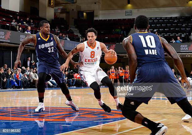 Rashad Vaughn of the Westchester Knicks dribbles the basketball against DeAngelo Riley of the Iowa Energy at the Westchester County Center on...