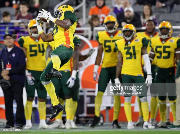 Rashad Ross of the Arizona Hotshots catches a 36 yard reception against the Salt Lake Stallions during the second half of the Alliance of American...