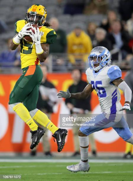 Rashad Ross of the Arizona Hotshots catches a 41 yard reception against the Salt Lake Stallions during the first half of the Alliance of American...