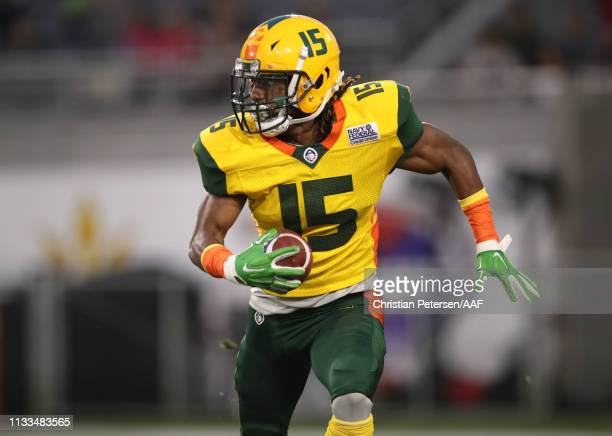 Rashad Ross of the Arizona Hotshots runs with the ball during the second quarter of the Alliance of American Football game against the Atlanta...