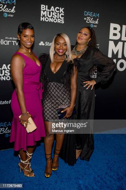 Rashan Ali, Quad Webb-Lunceford, and Trina Braxton attend the 2019 Black Music Honors at Cobb Energy Performing Arts Center on September 05, 2019 in...